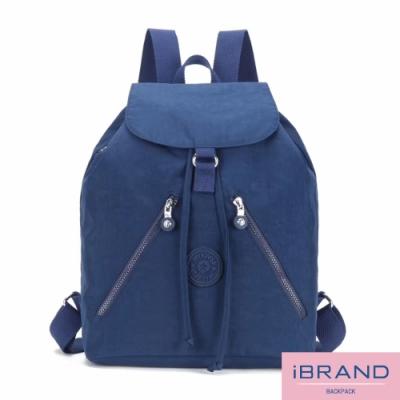 iBrand後背包 輕盈防潑水尼龍束口大容量後背包-寶藍色