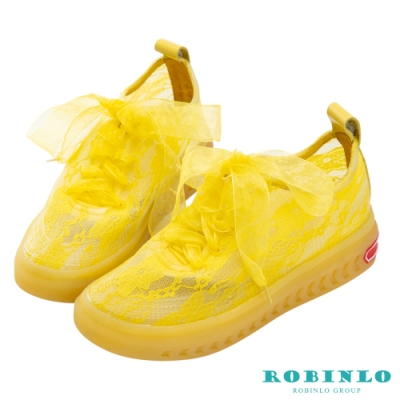 Robinlo 夢幻蕾絲蝴蝶結綁帶休閒鞋 黃色