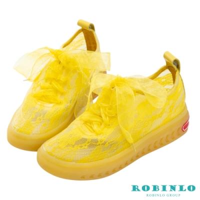 Robinlo夢幻蕾絲蝴蝶結綁帶休閒鞋黃色