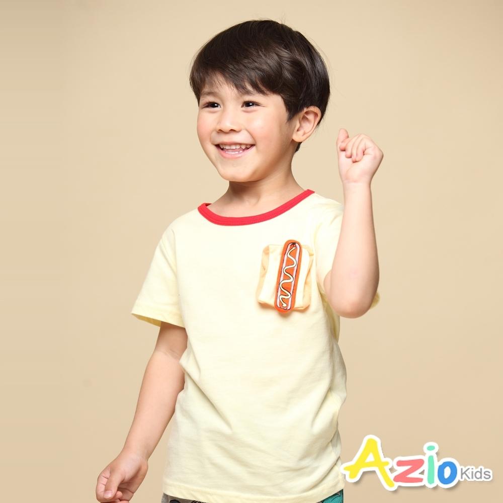 Azio Kids 上衣 熱狗造型貼布配色圓領純色短袖上衣T恤(黃)