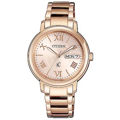 CITIZEN星辰xC光動能花漾時尚手錶(EW 2422 - 63 W)-玫瑰金/ 32 mm