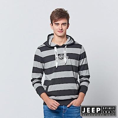 JEEP 雙色粗條紋長袖連帽TEE-黑色