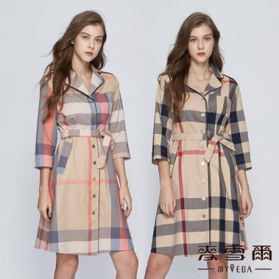 【麥雪爾】棉質英式格紋長洋裝-共二色