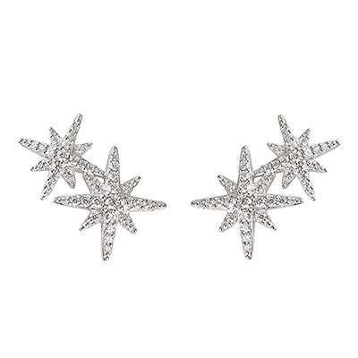 apm MONACO METEORITES系列晶鑽鑲飾雙流星設計純銀耳環(銀)