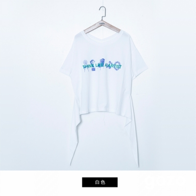 gozo 藝術印花造型下擺上衣(二色)