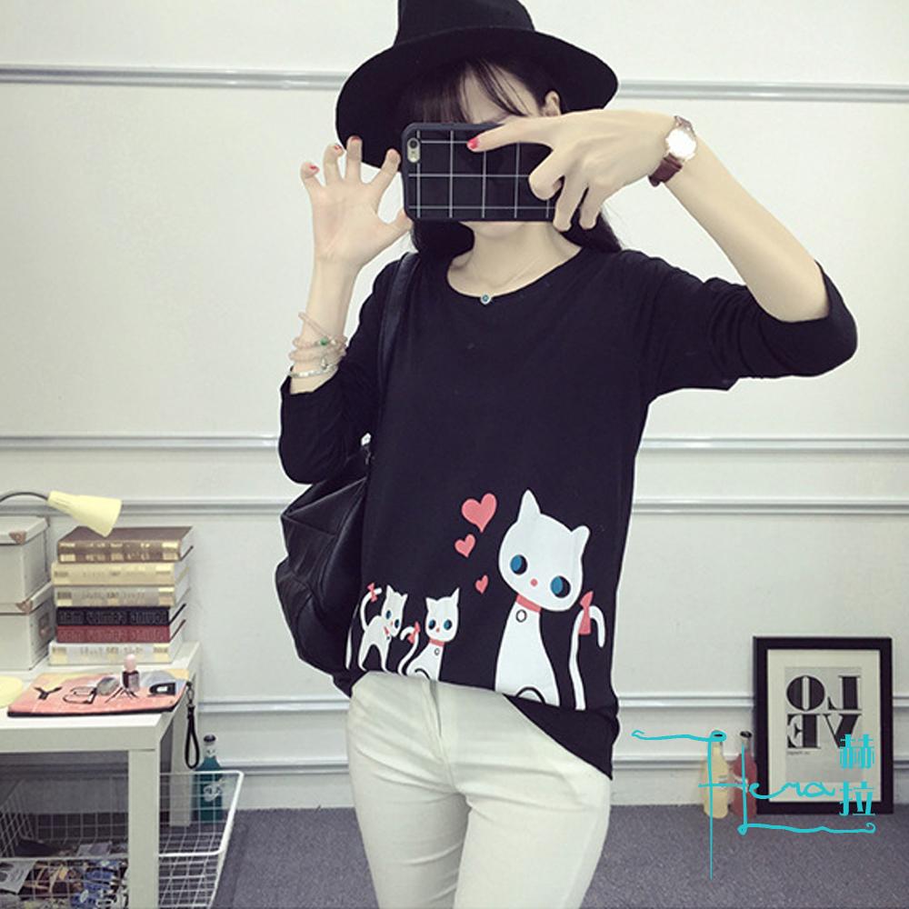 Lockers 木櫃 印花貓咪長袖T-shirt /上衣(4色)