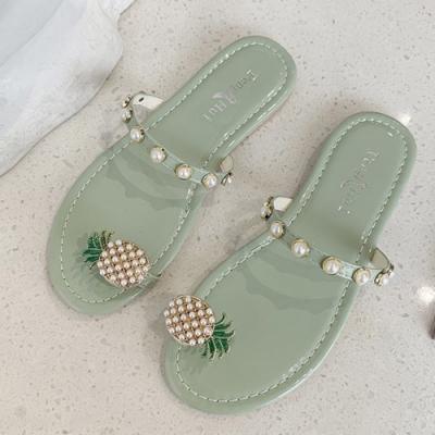 KEITH-WILL時尚鞋館 好感吸晴鳳梨珍珠拖鞋-綠