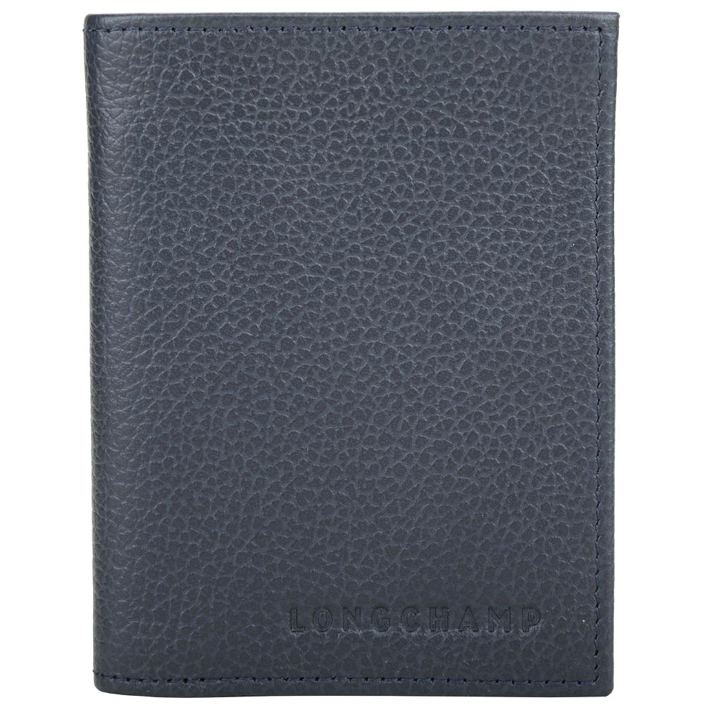 LONGCHAMP Le Foulonne 荔紋牛皮對折短夾/卡片夾(深藍色)