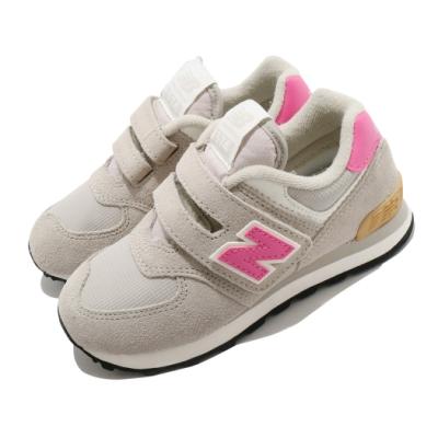 New Balance 休閒鞋 574 Wide 寬楦 運動 童鞋 紐巴倫 基本款 簡約 魔鬼氈 中童 灰 粉 PV574ME2W