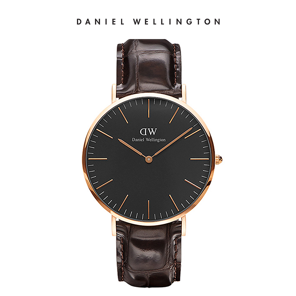 DW 手錶 官方旗艦店 40mm玫瑰金框 Classic Black 深棕真皮壓紋錶