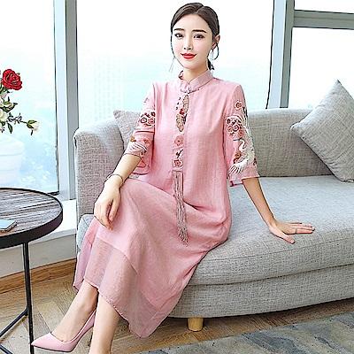 中國風優雅秀麗刺繡洋裝S-3XL(共二色)-REKO