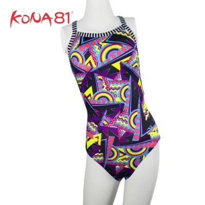 酷吶81 Dolfin 女童 意象 幾何元素 連身泳裝 迷幻紫