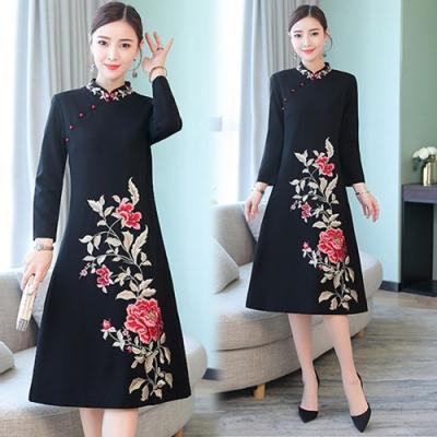 【韓國K.W.】民族風簡約顯瘦繡花洋裝