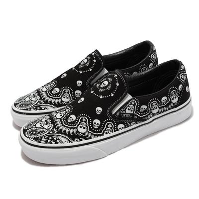 Vans 休閒鞋 Classic Slip-On 男女鞋 骷髏頭 懶人鞋 好穿脫 街頭穿搭 情侶鞋 黑 白 VN0A33TBD9S