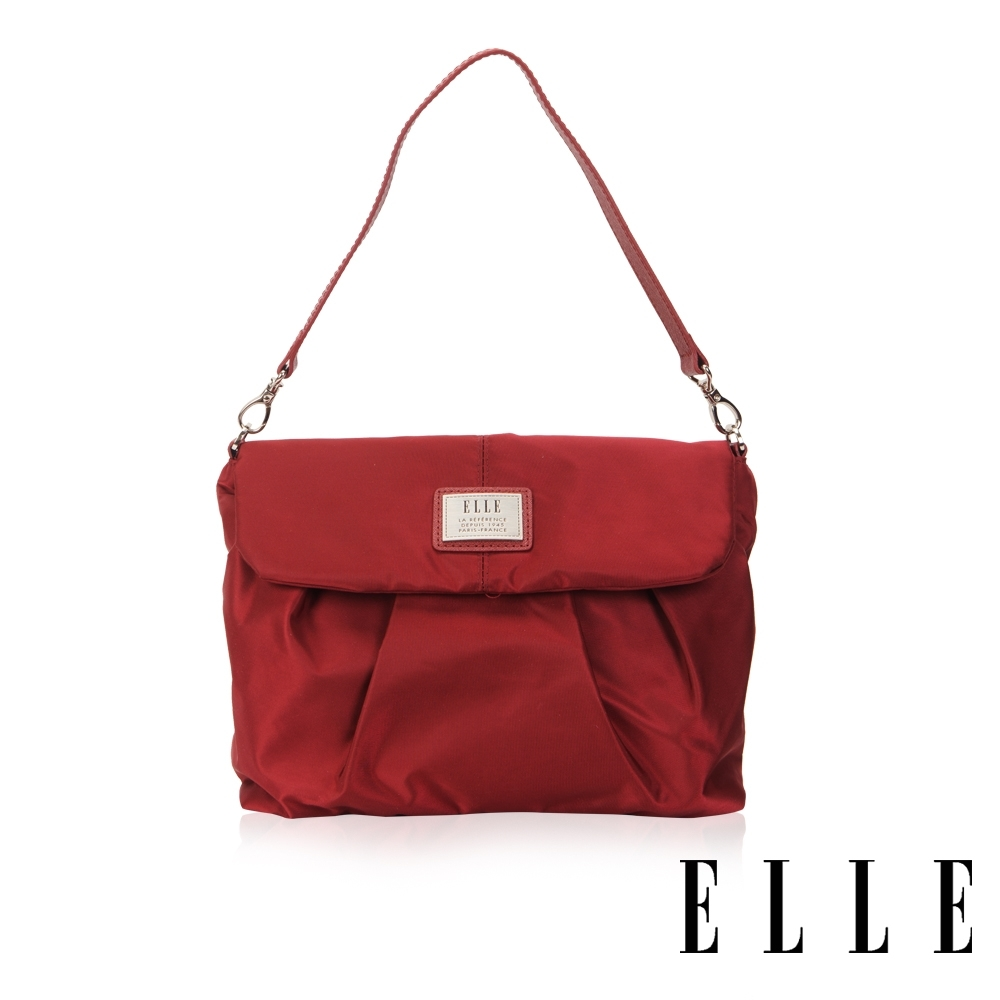 ELLE 法式優雅百褶設計肩背包- 酒紅