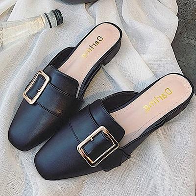 韓國KW美鞋館 歡樂單品簡約優雅平底拖鞋-黑色