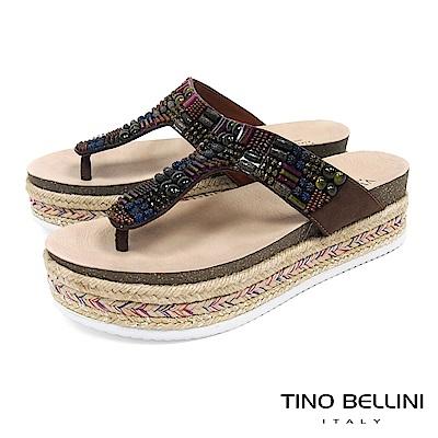 Tino Bellini 巴西進口民族風情珠飾藝術厚底夾腳涼拖鞋 _ 咖