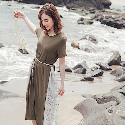 木紋層次拼接附綁帶柔軟親膚短袖洋裝-OB大尺碼