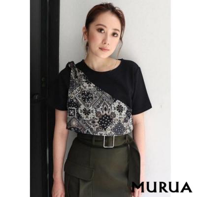 MURUA 拼接異素材異色圓領T恤(2色)