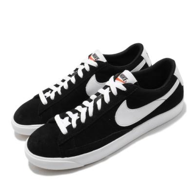 Nike 休閒鞋 Blazer Low 運動 男女鞋 基本款 簡約 麂皮 情侶穿搭 舒適 黑 白 538402004