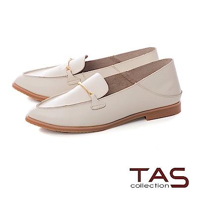 TAS 一字金屬素面牛皮後踩式樂福鞋-簡約白