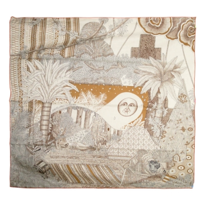 Hermes Acte III 圖騰喀什米爾羊絨披肩/方巾(米黃)