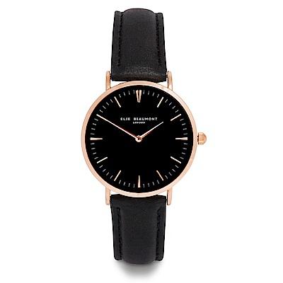 Elie Beaumont 英國時尚手錶 牛津系列 黑錶盤皮革錶帶x玫瑰金錶框38mm