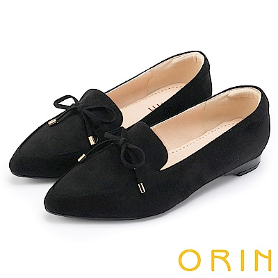 ORIN 舒適樂活 百搭麂皮布面樂福平底鞋-黑色
