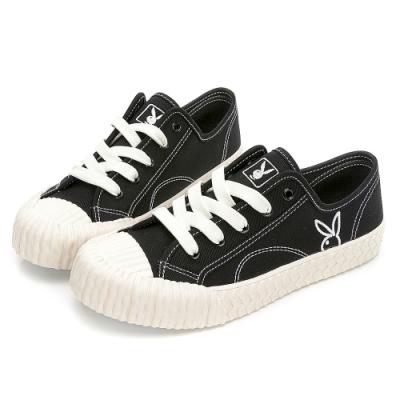 PLAYBOY 韓系casual 休閒帆布餅乾鞋-黑-Y7203CC