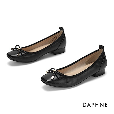 達芙妮DAPHNE 娃娃鞋-甜美蝴蝶結方頭低跟娃娃鞋-黑