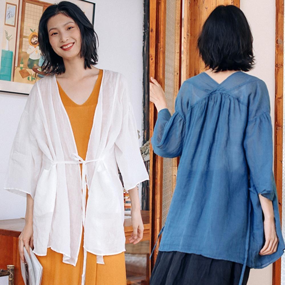 襯衫-100苧麻繫帶交領防曬外套薄版寬鬆-設計所在