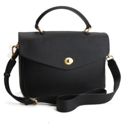 MOROM 真皮時尚簡約魅力三用包-黑色