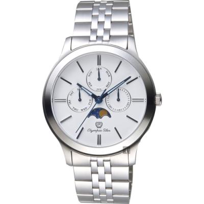 Olympia Star奧林比亞 日曆月相錶-白x銀/40mm