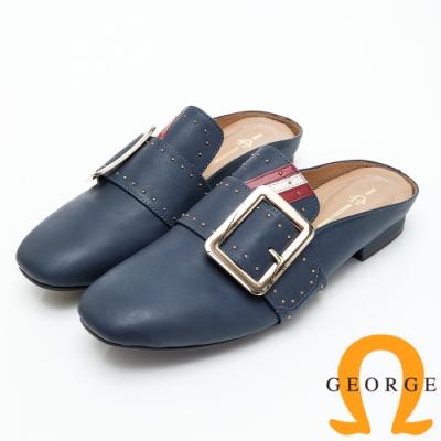 GEORGE 喬治皮鞋 釦飾三色鉚釘造型平底穆勒鞋-深藍