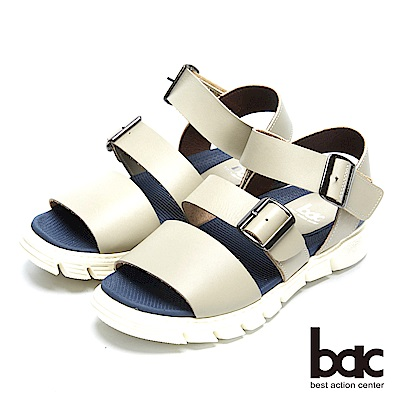 bac 台灣品質 舒適大底真皮涼鞋-灰