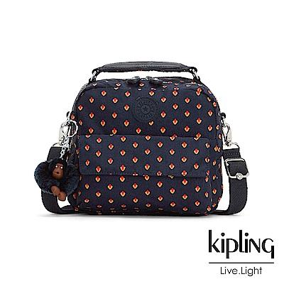 Kipling 後背包 紅黃幾何印花 -小