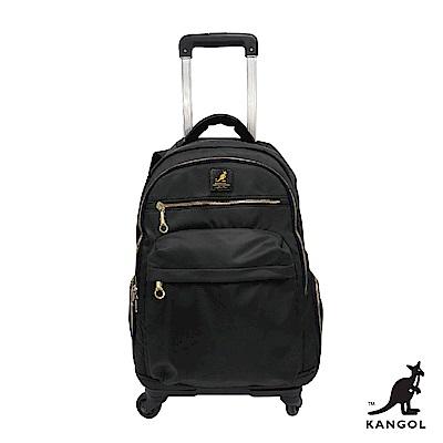 【KANGOL】英倫風格-拉桿式尼龍後背包-黑