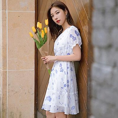 清新夏日印花公主袖荷葉下襬拼接雪紡短袖洋裝-OB大尺碼