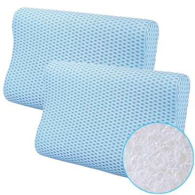 CooFeel 高效透氣可水洗3D纖維立體彈力枕(小)-藍色2入