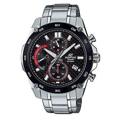 EDIFICE碳纖維編織感扇形錶眼設計腕錶(EFR-557CDB-1A)黑x黑框/46.7