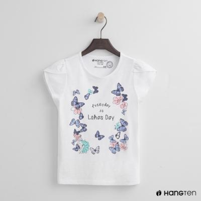 Hang Ten -童裝 - 有機棉-小荷葉袖蝴蝶圖樣T -白