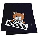 MOSCHINO 義大利製小熊字母LOGO圖騰混羊毛圍巾(深藍)