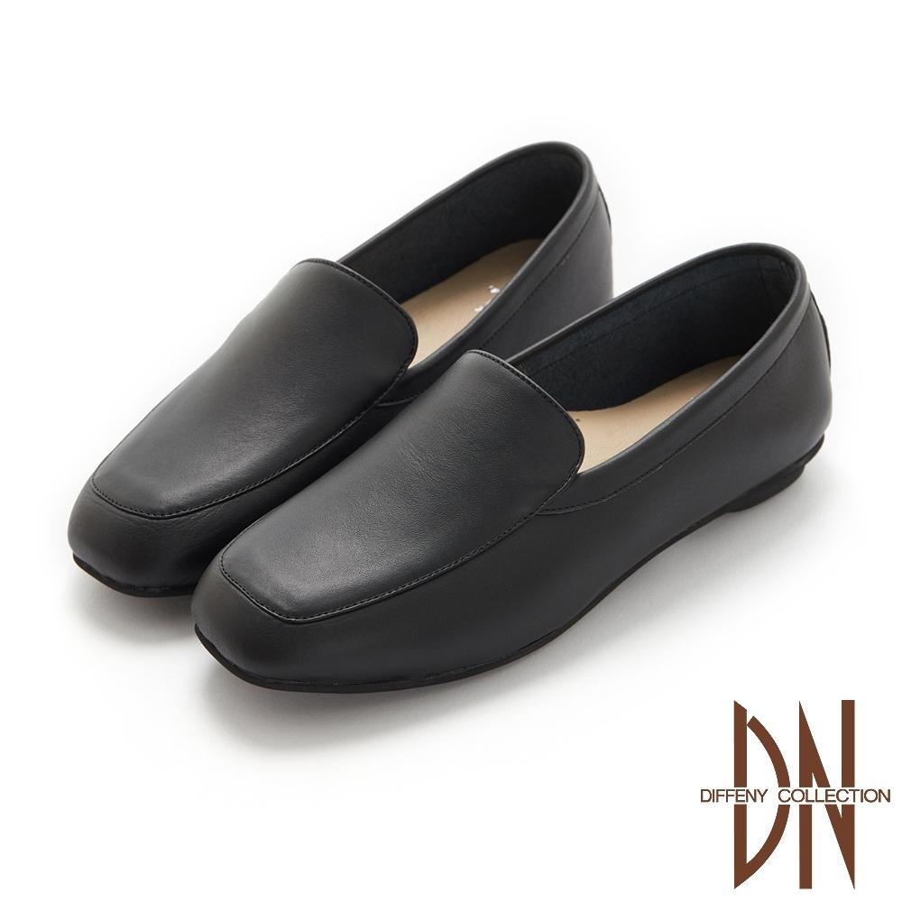 DN休閒鞋_MIT真皮素面縫線造型平底鞋-黑