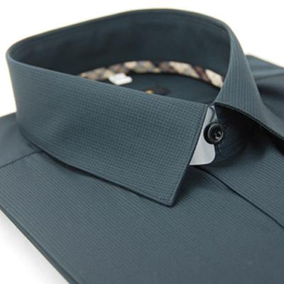 金‧安德森 經典格紋繞領黑格黑色黑釦吸排長袖襯衫