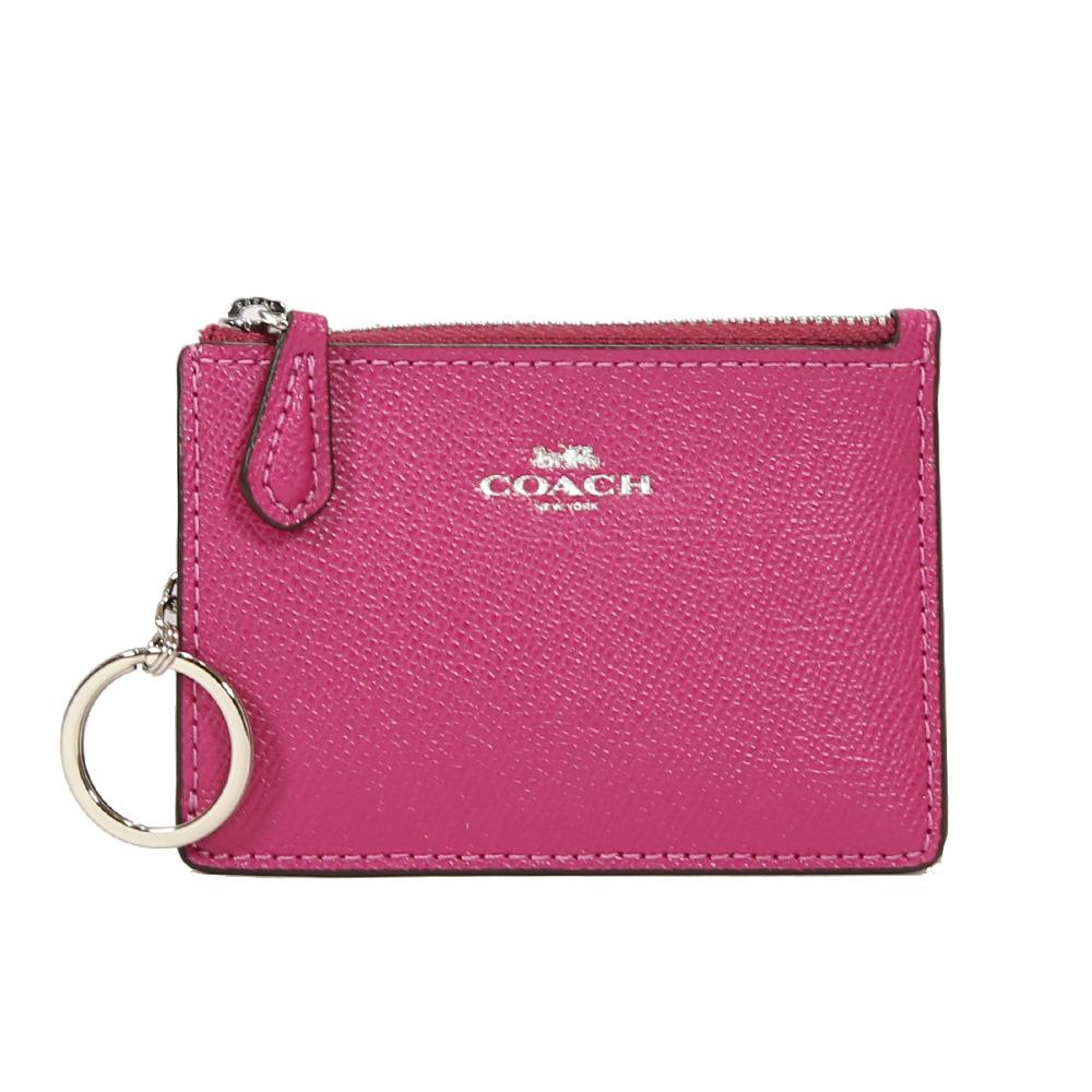 COACH 防刮皮革拉鍊證件零錢鑰匙包(桃紅)COACH