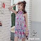 【AngelLuna日本泳裝】紫色印花削肩四件式比基尼泳衣