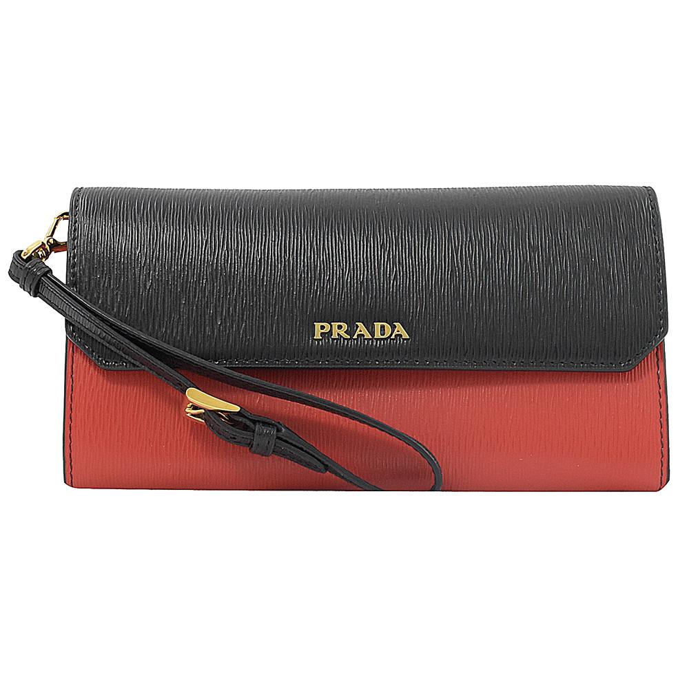 PRADA 金屬LOGO雙色水波紋牛皮釦式手掛長夾(紅/黑)PRADA