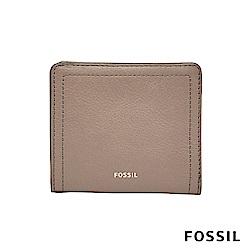FOSSIL LOGAN 真皮系列拉鍊零錢袋設計短夾-奶油駝色