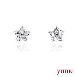 YUME - K金小花朵晶鑽耳環