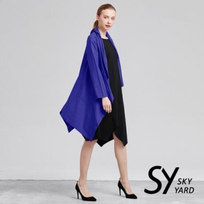 【SKY YARD 天空花園】開襟大翻領不規則剪裁外套-藍色